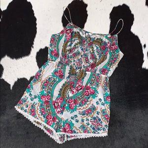 Zimmermann floral lace trim short romper, size 1